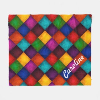 Colorful Country Checkered Patchwork Pattern Fleece Blanket