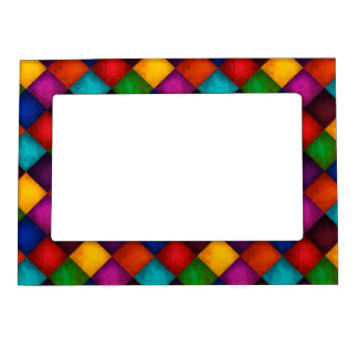 Colorful Country Checkered Patchwork Pattern Magnetic Frame