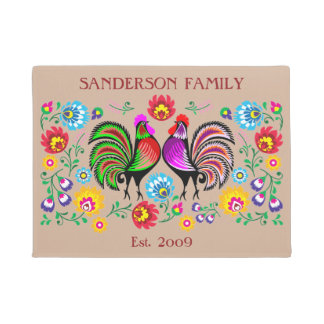 Colorful Country Chic Rooster Flower Pattern Doormat