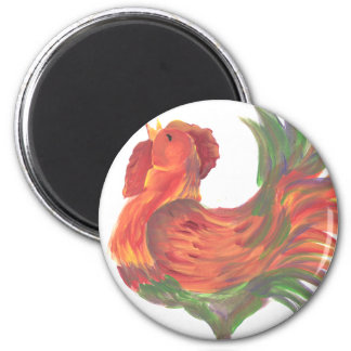 Colorful Country Crowing Rooster Art Magnet