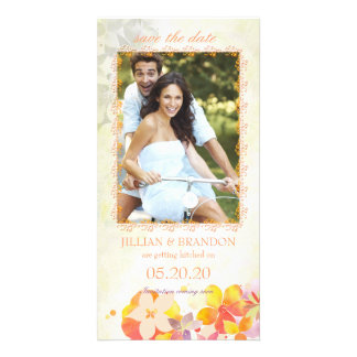 Colorful Country Flowers Photo Save the Date Cards Customised Photo Card