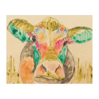 Colorful Cow Design Wood Print