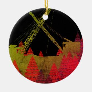 Colorful Crane Operator Operating Engineer Fantasy Ceramic Ornament