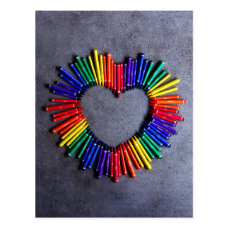 Colorful Crayon Heart Postcard