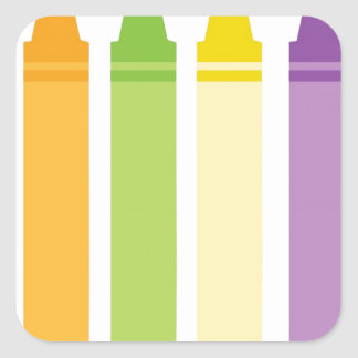 Colorful Crayons Square Sticker