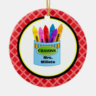 Colorful Crayons Teacher Christmas Ornament