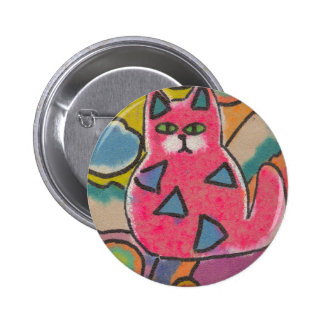 Colorful Crazy Abstract Cat design Pinback Buttons