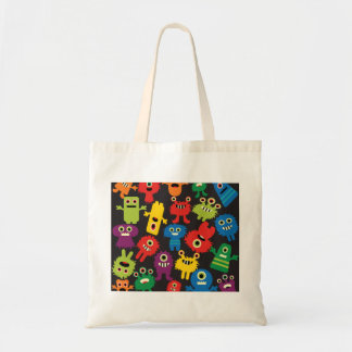 Colorful Crazy Fun Monsters Creatures Pattern Budget Tote Bag