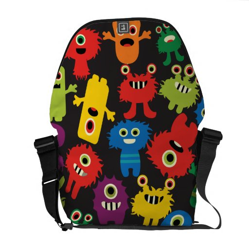 Colorful Crazy Fun Monsters Creatures Pattern Courier Bags