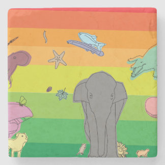 Colorful Creatures Stone Coaster
