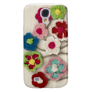 colorful crocheted flowers galaxy s4 cases