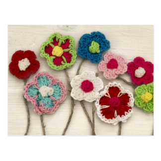 colorful crocheted flowers postcard