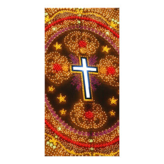 Colorful cross of lights photo greeting card