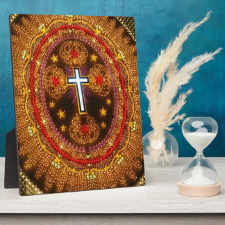 Colorful cross of lights photo plaque