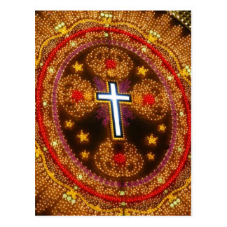 Colorful cross of lights postcard