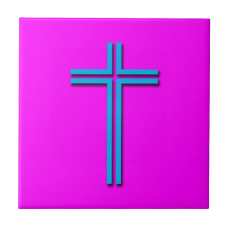 Colorful Cross Small Square Tile
