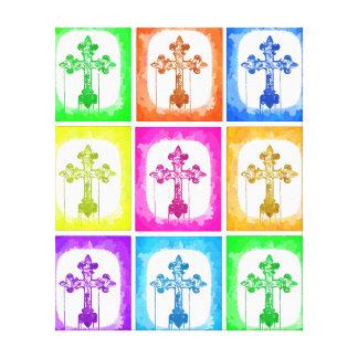 Colorful Crosses Christian Pop Art Wrapped Canvas Canvas Prints