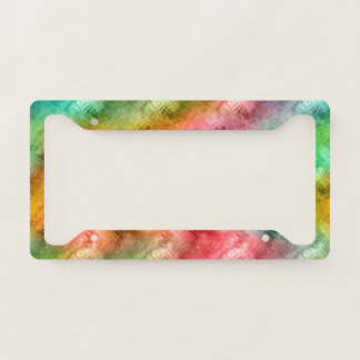Colorful Crystal Glass Pattern Licence Plate Frame