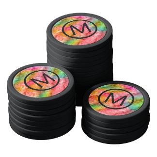 Colorful Crystal Glass Pattern Poker Chips Set