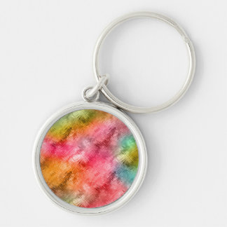 Colorful Crystal Glass Pattern Silver-Colored Round Key Ring