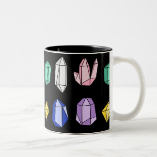 Colorful Crystals Pattern Black Two-Tone Coffee Mug