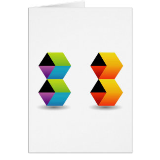 colorful cubes and shadow greeting card