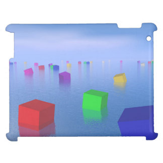 Colorful cubes floating - 3D render Case For The iPad 2 3 4
