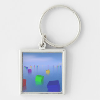 Colorful cubes floating - 3D render Key Ring