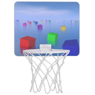 Colorful cubes floating - 3D render Mini Basketball Hoop