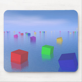 Colorful cubes floating - 3D render Mouse Pad