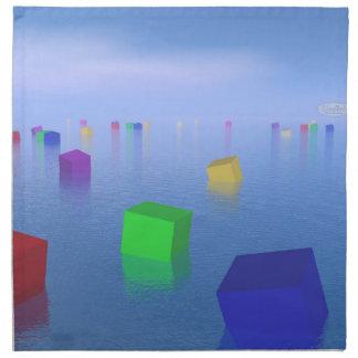 Colorful cubes floating - 3D render Napkin