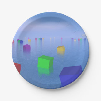 Colorful cubes floating - 3D render Paper Plate