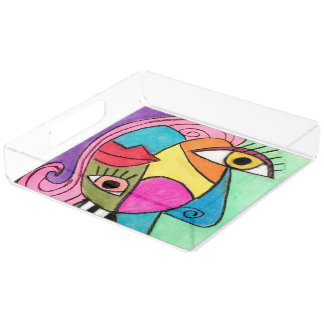 Colorful Cubism Face Quirky Eyes Red Lips Abstract Acrylic Tray