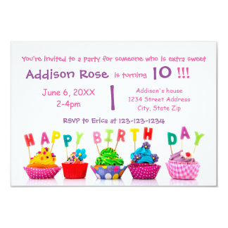 Colorful Cupcake - 3x5 Girl Birthday Card 9 Cm X 13 Cm Invitation Card