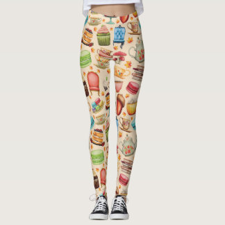 Colorful Cupcake and Teapot Party Leggings