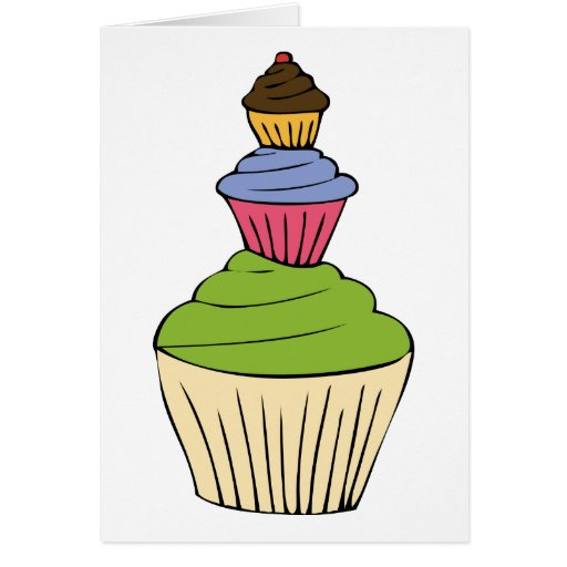 Colorful Cupcake Tower Party Invitation Greeting Cards