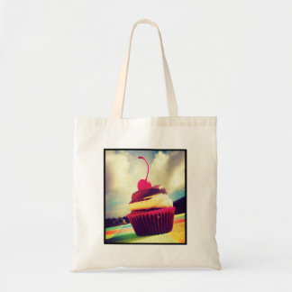 Colorful Cupcake with Cherry on Top Budget Tote Bag