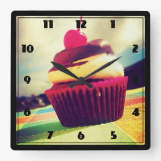 Colorful Cupcake with Cherry on Top Square Wallclock