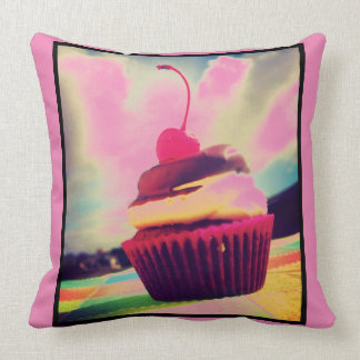 Colorful Cupcake with Cherry on Top Pillows