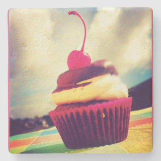 Colorful Cupcake with Cherry on Top Stone Coaster
