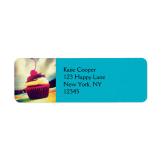 Colorful Cupcake with Cherry on Top Return Address Label