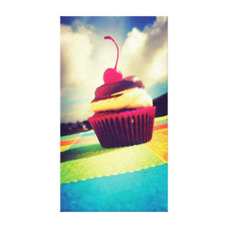 Colorful Cupcake with Cherry on Top Stretched Canvas Print