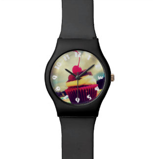 Colorful Cupcake with Cherry on Top Wristwatch