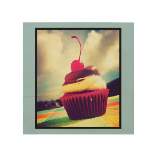 Colorful Cupcake with Cherry on Top Wood Canvas