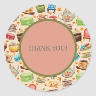 Colorful Cupcakes and Teapots Thank You Sticker
