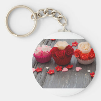 colorful cupcakes key ring