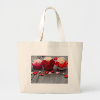 colorful cupcakes large tote bag