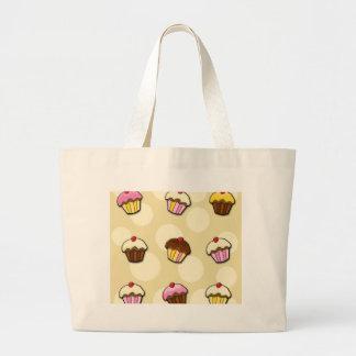 Colorful cupcakes pattern large tote bag