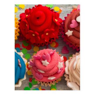 colorful cupcakes postcard