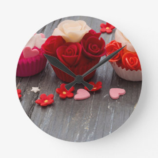 colorful cupcakes round clock